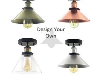 Flush Mount Design Your Own Shade Light - Mix and Match - Glass or Metal Nickle, Black, Copper, Antique custom industrial lighting Hangout
