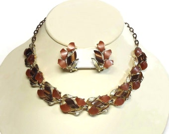 Moonglow Thermoset Necklace & Clip Earrings in Brown and Peach Beige Color Set in Silver Leaves Motif - Vintage 50's Plastic Costume Jewelry