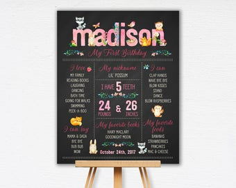 Woodland First Birthday Chalkboard Poster | Celebration Poster | Baby Animal 1st Birthday | Birthday Poster | DIY | Printable  1515pink