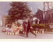 Vintage Photo, People in Front of Belfast City Hall, Flower Seller, Donecall Square North, Ireland, Color Photo,  Old Photo