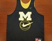 Nike Michigan Wolverines vintage basketball practice jersey Large reversible yellow navy blue 90s