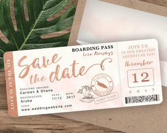 Rose Gold Watercolor Destination Wedding Boarding Pass Save The Date by Luckyladypaper - see Item Details Tab to order