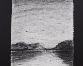 Moonrise, small charcoal drawing along the river and mountains