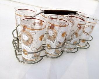 Vintage Bar Glasses | White Gold Glassware | Metal Caddy | Atomic Era Cocktail Glasses | Geometric Print