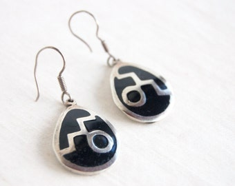 Black Modernist Earrings Vintage Mexican Drops Sterling Silver Abstract Dangles Modern Statement Jewelry