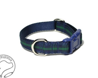 """NEW - Blackwatch Tartan Dog Collar / 3/4"""" (19mm) Wide - Navy Plaid - Martingale or Side Release / Choice of collar style and size"""