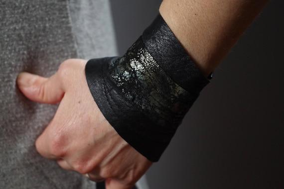 Sparkle Leather Cuff Bracelet - Leather Cuff Bracelet - Black Leather Cuff -  Leather Jewelry - Leather Sparkle Cuff