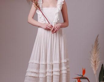 Bohemian wedding dress,Alternative wedding dress,Boho wedding dress,Beach wedding,Romantic wedding dress,Pinafore dress,Bridesmaid dress