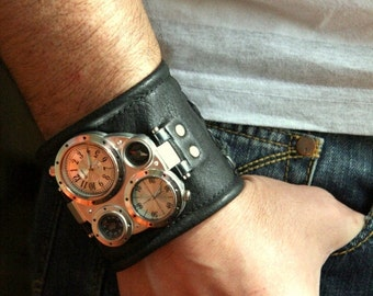 "Mens wrist watch leather bracelet ""Pathfinder-2""-Steampunk Watch-Leather cuff wrist watch-Gifts for him-leather band-SALE-Worldwide Shipping"