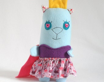 Princess Betty Cat Plush, Gift for Princess Birthday, Cat Kitty Plush Toy, Stuffed Cat Doll, Gift for Princess Party, Blue Cute Cat Softie