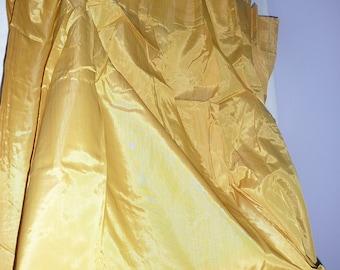 retro gold chromspun pinch pleat curtains 48x63 yellow satin curtains vintage draw draperies