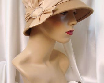 Taupe Wool 1920s Cloche Hat, Downton Abbey Inspired Hat, Phryne Fisher Inspired Hat, Roaring 20s Cloche Hat