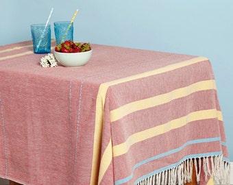 Red Mexican Blanket, Tablecloth, Picnic Blanket, Picnic Rug, Beach Blanket, Mexican Serape, Garden Decor, Striped Throw, Handwoven in Oaxaca