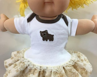 "Cabbage Patch 16 inch KIDS Doll Clothes, Cute ""Brown BEAR"" Ruffle & Lace Trim Dress, 16"" CPK Kids Doll, Fits Bitty Baby, Love My Teddy Bear!"