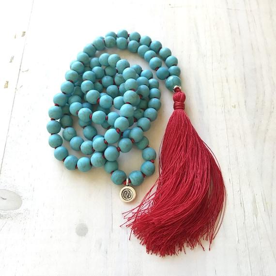 New Beginnings Mala Beads, Howlite 108 Bead Mala Necklace, Yin Yang Charm Mala, Vibrant And Electric Mala Beads, Yoga Style Jewelry