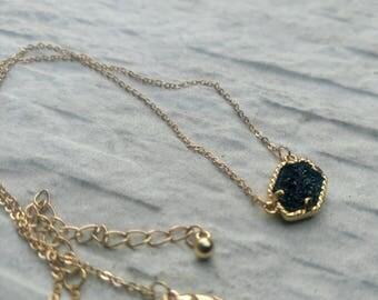 Black Druzy necklace, black drusy necklace,  Drusy necklace, BLACK Drusy Pendant GOLD Tone necklace, Elissa