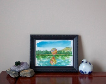Blue Green Watercolor Landscape in Frame- 5x7- hot air balloon- Original Watercolor on Paper- nature- mountain- dream- wonder- birthday