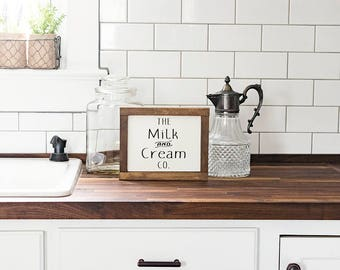 Farmhouse Decor- The Milk and Cream Co Sign - Farmhouse Kitchen Decor - Coffee Bar Decor - Farmhouse Signs- Fixer Upper Style- Rustic Decor
