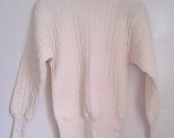 Vintage 1960's Bodyguard Cream Insulated Long Sleeve Thermal Shirt Sz Med 38 - 40 Rustic Workwear