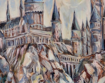 Hogwarts Castle Original Painting Harry Potter Art School of Witchcraft and Wizardry Fantasy Setting Houses Express Student Ghosts Street