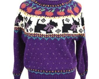 Kitsch Scotty Dog Sweater | Purple Fair Isle Sweater Norwegian Chunky Knit Sweater 80s Ski Sweater Winter Pullover NORTHERN ISLES Small