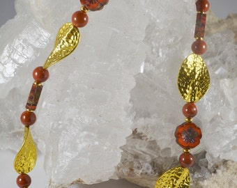 """16"""" Gold and Rust Flower and Leaf Choker Necklace"""