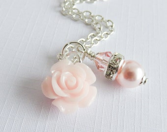 Pale pink flower girl necklace, pearl necklaces, flower girl gift, little girl jewelry, light pink rose necklace, wedding jewelry