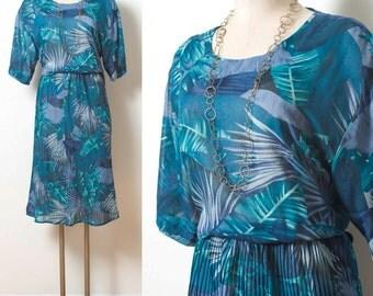 Vintage 70s Dress, Vintage Teal dress, Vintage Blouson dress,Sheer blue dress,Vintage Blue Dress,Nature print dress, Abstract Dress - XL/1XL