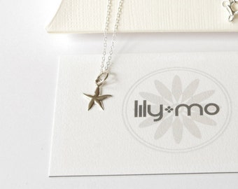 Silver starfish necklace, sterling silver starfish, starfish jewelry, starfish pendant, silver star charm necklace, gift for her, beach