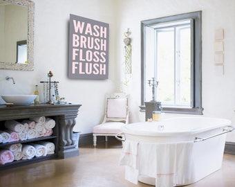 Wash Brush Floss Flush Large Canvas Bathroom Decor Bathroom Canvas Art Kids Bathroom Art 30x40 Navy Bathroom Decor Minimalist Bathroom sign