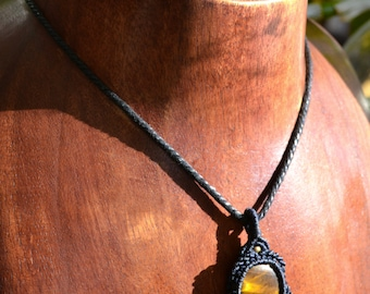 Tiger Eye Choker / Tiger Eye Macrame Necklace / Macramedamare