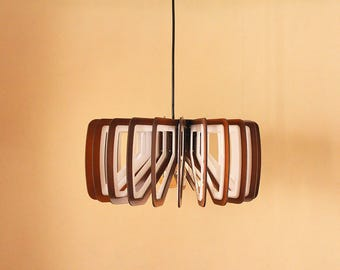 Wood Pendant Light - Edison - Modern Chandelier Lighting - Hanging Dining Lamp - Ceiling Light Fixture - Geometric - Minimal - P4