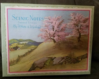 Vintage OLD FASHION NOTES by White & Wyckoff 12 Scenic Notes 12 Envelopes