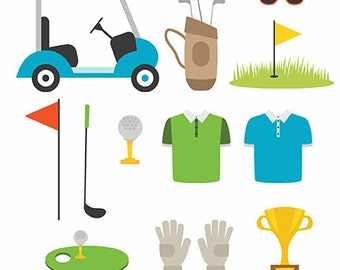 Cute golf vector- Digital Clipart - Instant Download - EPS, PNG files included