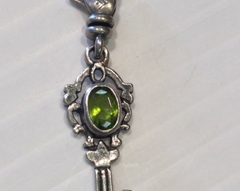 Silpada Sterling Silver Key Charm With Green Stone And Lobster