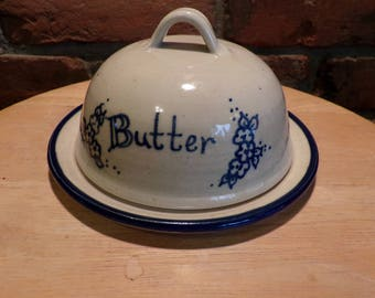 Signed Pearsall Domed Stoneware butter dish, Stoneware butter dish, farmhouse décor