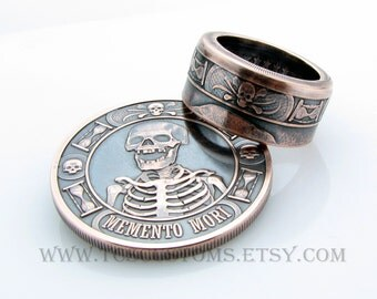Memento Mori Coin Ring, The Last Laugh Handcrafted 1oz .999 Pure Copper, Unique Ring, Coin Jewelry, Mens, Band, Rings