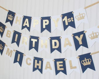 Prince Crown Gold & Navy, white Happy 1st birthday Custom Banner /Navy Ombre Royal Birthday/ Prince Party/ Decor/1st birthday, baby boy