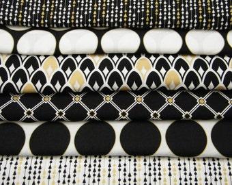 6 FQ Bundle – Black, White & Metallic Gold GEOMETRIC Prints 100% Cotton Quilt Craft Fabric Fat Quarters
