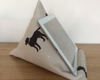 Tablet pillow, iPad stand, dog fabric taupe and black, iPhone stand, iPod holder, kindle e-reader pilllow, gadget cushion