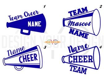 Multi-Color Cheer Megaphone Decal or Iron On - Personalized Team/Name