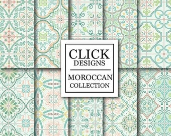 """Moroccan Digital Paper: """"RETRO MINT MOROCCAN Tiles"""" retro seamless mosaic scrapbook papers in mint and coral, Lisbon tiles, arabesque ethnic"""