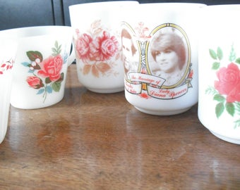 vintage milk glass and pyrex mugs assorted designs