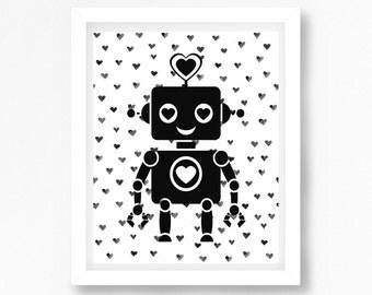 Black and White Nursery Decor, Robot Nursery Print, Robot Print, Robot Bedroom Wall Art, Baby Boy Baby Shower Gift, Modern Nursery Decor Art