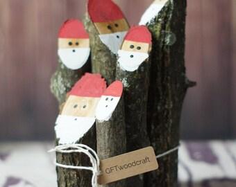 Tree Branch Santas, Holiday Figurine, Wooden Santa, Primitive Wood Santa, Primitive Christmas Decor, Rustic Christmas Decorations, Mantle