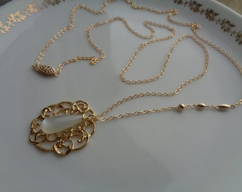 Long gold chain, 585 gold filled, with filigree Pearl pendant