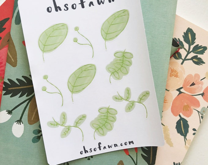 Hand Drawn Leaf Stickers