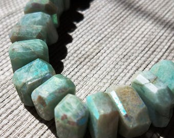 Faceted Aquamarine Nugget Chunky Gemstone Beads with AB Finish - Beautiful
