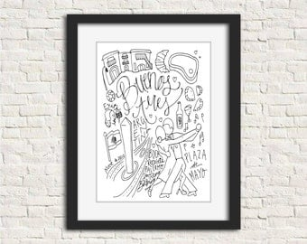 Buenos Aires, Argentina City Illustration Wall Art Print // 8x10 Black and White