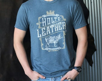 Holtz Leather Co. Branded T-Shirt in Indigo Blue soft comfy shirt